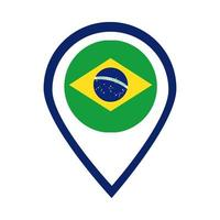 Brasilien Flagge Siegelstempel flache Stilikone