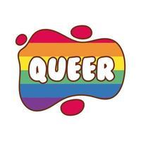 queer word med gay pride färger vektor