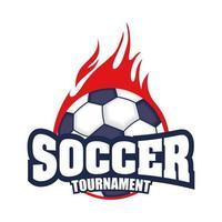 Fußballturnierikone mit Ball in Flammen