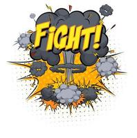 Kampf Text auf Comic Cloud Explosion isoliert auf weißem Hintergrund vektor