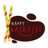 Fröhliche Navratri-Feier mit Essstäbchen im flachen Stil