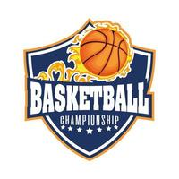 Basketballturnier Wappen mit Basketball in Flammen