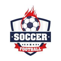 Fußballikone mit Schild und Ball in Flammen