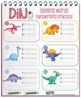 Satz von Rechtschreibwörtern Dinosaurier Handschrift Praxisarbeitsblatt