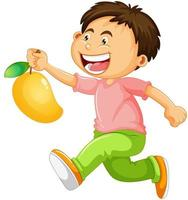 ein Junge, der Mangofruchtkarikaturfigur lokalisiert auf weißem Hintergrund hält vektor