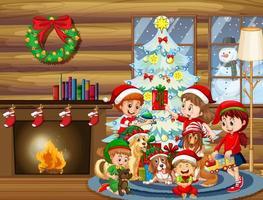 jul inomhus scen med många barn och söta hundar vektor