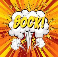 Sockentext auf Comic-Wolkenexplosion auf Strahlenhintergrund vektor