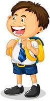 eine Studentenjungen-Zeichentrickfigur isoliert auf weißem Hintergrund vektor
