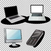 uppsättning bärbara datorer och prylar
