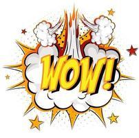 Wort Wow auf Comic Cloud Explosion Hintergrund vektor