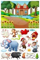 ein Haus in der Naturszene mit isolierten Zeichentrickfiguren und Objekten vektor