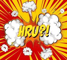 hru text på komisk moln explosion på strålar bakgrund vektor
