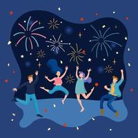 Eine Gruppe von Freunden genießt eine Feuerwerksshow