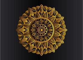 gyllene dekorativa, blommiga och abstrakt arabesk mandala design vektor