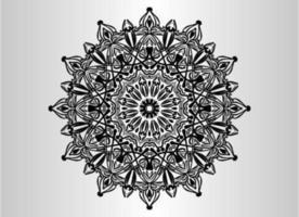 schwarzer dekorativer, blumiger und abstrakter arabesque Mandalaentwurf