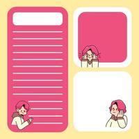 Notizblock niedlicher Junge entwirft zurück zur Schule, um tägliche Notizen aufzulisten