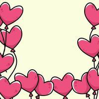 hjärta tecknad gräns bakgrund söt illustration