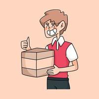 leverans pojke tummen upp bra service kurir tecknad illustration vektor