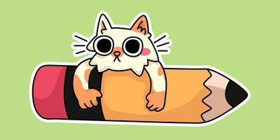 kattkattunge glad tillbaka till skolan studie ritning illustration vektor