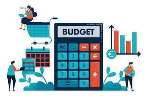 Planung des monatlichen Budgets für Einkauf und Kauf, Verwaltung des Finanzplans mit Taschenrechner, Finanzberatungssoftware, Bankbuchhaltungsplattform, Illustration der Website, Banner, Software, Poster vektor
