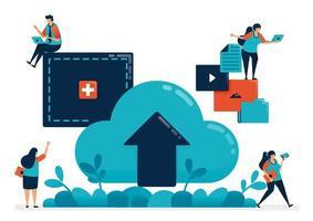 Hochladen von Dateien und Dokumenten in Ordner in der Cloud, Vermietungsdienste für Hosting und Domains, digitaler Speicherdienst für Dateiübertragung und Rechenzentrum, Illustration von Website, Banner, Software, Poster vektor
