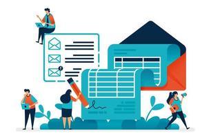 företagets resultaträkning och månatlig fakturering, avtal om finansiellt samarbetsdokument e-post, statliga budgetplaner, inköpsplaneringsrapport. illustration av webbplats, banner, programvara, affisch vektor