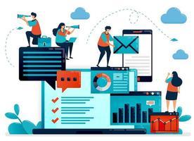 Analyse von Statistiken und Daten zum Unternehmensbericht. Laptop-Dashboard für Buchhaltungsauftrag. Optimieren Sie mobile digitale Dienste für die Arbeit. flache Vektor menschliche Illustration für Landing Page, Website, Handy, Poster