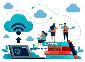 Online-Lernen oder E-Learning mit Cloud-Internetdatenbank. Speichern Sie Schularbeiten und Lehrbücher auf Laptops. studieren moderne Bildungstechnologie.Vektorillustration, Landingpage, Karte, Banner, Broschüre, Flyer