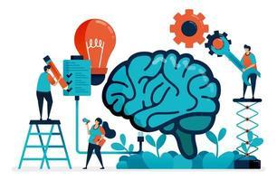 Verwenden Sie künstliche Intelligenz, um Aufgaben zu erledigen. Multitasking-System im künstlichen Gehirn. Ideen und Inspiration bei der Verwaltung von Aufgaben. Intelligenz bei der Lösung von Problemen. Visitenkarte, Banner, Broschüre, Flyer vektor