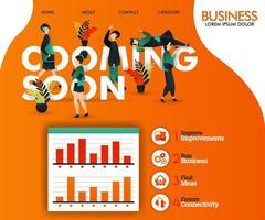 kommt bald und schreibt mit orangefarbener und flacher Illustration. kann für, Landing Page, Vorlage, UI, Web, mobile App, Poster, Banner, Flyer, Vektor-Illustration, Online-Werbung, Internet-Marketing verwenden vektor