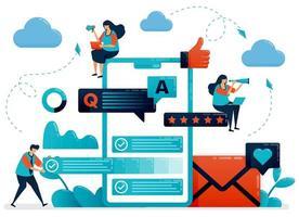 qa oder Frage und Antwort an Benutzer, um Feedback zu erhalten. mobile Umfrage-Apps zur Verbesserung des Service. Füllen Sie den Aufsatz und den Fragebogen aus. flache Zeichentrickfigur für Landing Page, Website, Handy, Flyer, Poster vektor
