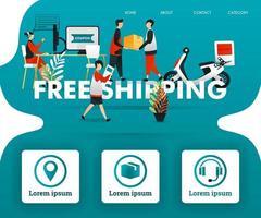 Menschen interagieren im kostenlosen Versand. Der Kurier, der das Paket an den Kunden und den Kundendienst liefert, funktioniert, kann für, Zielseite, Vorlage, Benutzeroberfläche, Web, mobile App, Poster, Banner, Flyer, Vektor verwendet werden