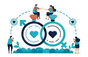 Ehering und Sexsymbol für Ehe und Verlobung. Verbindung in Liebesbeziehung, Hochzeit, Romantik. Ring mit Diamanten und Schmuck. Illustration der Website, des Banners, des Plakats, der Einladung, der Karte vektor