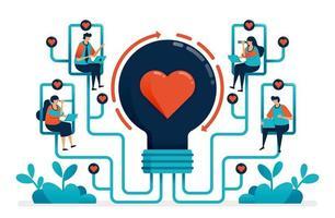artificiell intelligens för att matcha partner och relation. idéer för matchmaker. idéer för kärlek, äktenskap, förlovning. glödlampa med hjärta. illustration av webbplats, banner, affisch, inbjudan, kort vektor