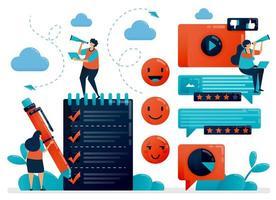 Füllen Sie die Umfrage aus, um Feedback zu erhalten. Emoticon in Kommentaren. Benutzerbewertungen in Diensten. Einschätzung zur Verbesserung der Erfahrung. Prüfung und Fragebogen. flacher Charakter für Landing Page, Website, Handy, Flyer, Poster vektor
