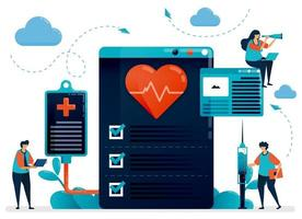 medizinische Kardiologie auf Gesundheit prüfen. Krankenhaus, Klinik, Labor zur Diagnose und Behandlung von Herzerkrankungen. flache Zeichenvektorillustration für Landing Page, Web, Banner, mobile Apps, Poster