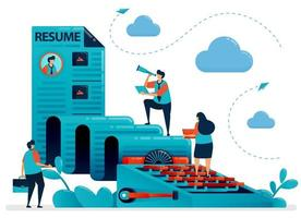 skriva ett CV, personlig profil, cv för att ansöka om jobb. arbetssökande för skrivmaskin. rekryteringsföretag. vi anställer en anställd. vektorillustration för visitkort, banner, broschyr, flygblad vektor