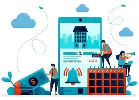 Reservierung, Buchung, Bestellung, Einkäufe für Hotelzimmer und Apartment. mobile Apps für Reisen und Reisen. flache Zeichenvektorillustration für Landing Page, Web, Banner, mobile Apps, Poster