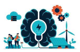 künstliche Intelligenz für intelligente grüne Energie. Energiemanagement der künstlichen Gehirnversorgung. zukünftige Energie mit Solarzelle und Wind. Idee in der künstlichen Technologie. Visitenkarte, Banner, Broschüre, Flyer vektor