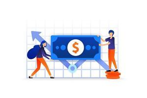 Investitionen und Finanzen erhöhen. Diagramm über das Geschäft, um nach Gewinn in Börsenwährung zu suchen. Vektor-Illustrationskonzept für, Landing Page, Web, UI, Banner, Flyer, Poster, Vorlage, Hintergrund vektor