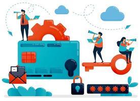Abbildung zum Schutz bei Zahlungs- und Kreditkartentransaktionen. finanzielle Sicherheit mit einem Passwort. sicherer Online-Kauf. flache Zeichentrickfigur für Landing Page, Website, Handy, Flyer, Poster vektor