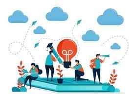 Ideen und Inspiration beim Lernen und Lernen. Leute, die auf Büchern sitzen. modernes Online-Lernen. Lampe und Bleistift. Bildungsgeschäft. Illustration für Visitenkarte, Banner, Broschüre, Flyer vektor