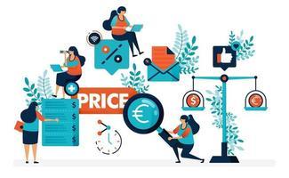 Vergleichen Sie die Preise für einzelne Geschäfte und Produkte. Finden Sie die besten Preise mit mehr Rabatten und Sonderangeboten. flache Vektorillustration für Landingpage, Web, Website, Banner, mobile Apps, Flyer, Poster vektor