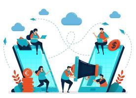 Überweisen Sie einen Freund für ein Partner- und Empfehlungsprogramm. Werbung und Marketing mit Handy-Anzeigen und SEO. Smartphone-Technologie, um Menschen zu verbinden. Illustration für Visitenkarte, Banner, Broschüre, Flyer vektor