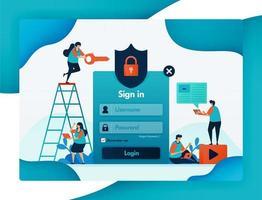 webbplatsinloggningsmall för skydd av användarkontosäkerhet, skydd och skydd för integritet och brandväggskryptering för användarsäkerhet, lösenord och användarnamn. vektor design flygblad affisch mobila appar