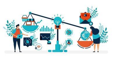 Risikokapital zur Gründung von Unternehmen. auf der Suche nach Finanzmitteln und Investoren, um ein Startup zu gründen. flache Vektorillustration für Landingpage, Web, Website, Banner, mobile Apps, Flyer, Poster vektor