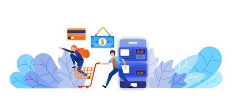 handla mer och roligare online med en mängd olika betalningsalternativ från kontanter, kreditkort, överföringar. vektor illustration koncept för målsida, webb, ui, banner, flygblad, affisch, mall, bakgrund