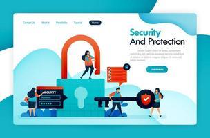 målsida för säkerhet och skydd, hänglås och lås, hacka användardata, integritet och ekonomiskt skydd, säkrar digitalt system, säkert datakonto. vektor design reklamblad affisch mobilapps annonser