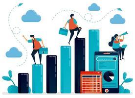 Konzept der Datenanalyse und -planung. Gehaltsmann überprüfen Barchart-Statistik für Jahresbericht. mobiler Datenbericht mit Grafik und Tabelle. flache Vektor menschliche Illustration für Landing Page, Website, Handy