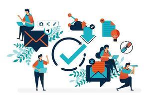 Verifizierte E-Mail lesen. Überprüfen Sie das Kreissymbol, um Nachrichten zu empfangen und zu beantworten. Einfache Häkchen-Symbol-Vektorillustration für Zielseite, Web, Banner, Vorlage, Hintergrund, mobile Apps, Benutzeroberfläche, Flyer, Poster